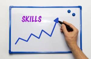 Skills: Whiteboard-Tafel mit blauen aufsteigenden Zick-Zack Graph und dem englischen Wort für Fähigkeiten in Rosa/Pink - zentrierte Nahaufnahme