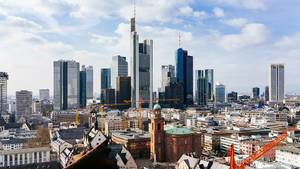 Skyline of Frankfurt City with Financial District and Construction Sites