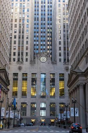 Skyscraper and landmark on LaSalle Street: Chicago Board of Trade building