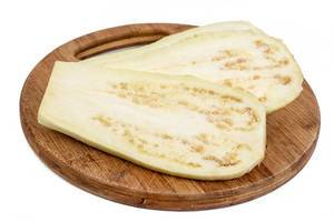 Sliced Fresh Eggplant on the wooden board