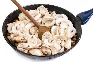 Sliced Mushrooms in the frying pan