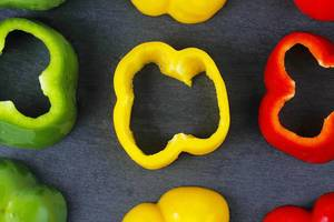 Slices of bell pepper, red, yellow and green