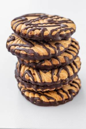Slide with shortbread cookies with chocolate stripes (Flip 2019)