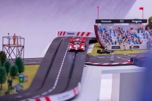 Slot car race track at Panasonic booth