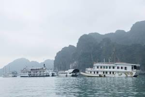 Small Cruising Ship At Sea Halong Bay Vietnam  (Flip 2019)