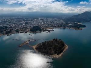 Small Island on Lake Kawaguchiko with Unoshima