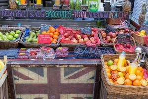 Smoothie-Stand am Markt in London