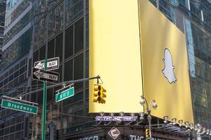 Snapchat Advertisement Board at Times Square in New York City