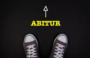 Sneaker shoes with Abitur text