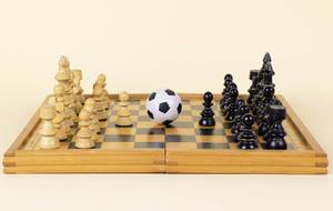 Soccer ball on a chess board
