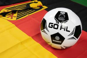 Soccer ball on Germany flag