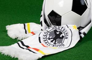 Soccer ball with German fan scarf