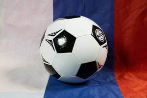 Soccer ball with Russian flag