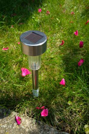Solarlicht für den Garten steckt in Wiese, rundherum Roseblüten