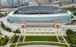 Soldier Field stadium photographed from the above