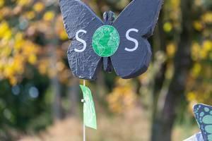 SOS - Schmetterling mit Planet Erde: Klimastreik gegen Artensterben durch die globale Klimakatastrophe