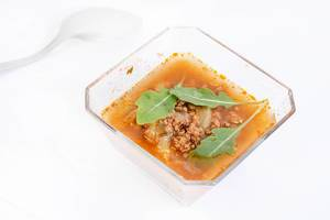 Soup with Minced Meat and Rukola