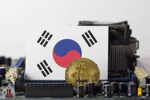 South Korea flag and golden bitcoin