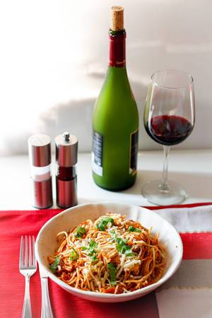 spaghetti with red wine glass
