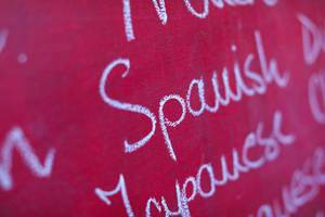 Spanish, among many foreign languages written with chalk, school chalkboard