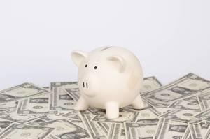 Sparschwein steht auf verteilten US-Dollar Banknoten