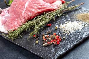 Spices and raw meat steak on black background (Flip 2019)