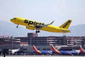 Spirit Airlines N694NK takes off from Las Vegas airport LAS