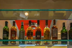 Spirits on shelf in the bar