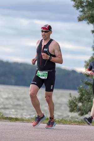 Sportsman at the Ironman in Lahti, Finland rund the half marathon to finish the tough triathlon course