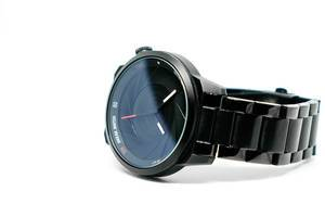 Sporty wristwatch on white background