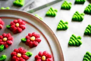 Spritz cookies in baking sheets