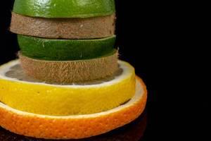 Stack of sliced Orange Lemon Lime and Kiwi (Flip 2019)