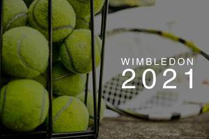 "Stacked tennis balls in a basket, with tennis rackets in the background and the text ""Wimbledon 2021"" , the name of the annual sporting event in London"