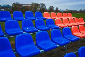 Stadium Chair. Blue and Red.  Pattern (Flip 2020)
