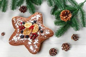 Star sponge cake with red currants, blueberries and dried citrus pieces with Christmas tree branches (Flip 2019)