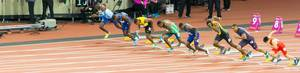 Start 100m Finale der Herren in London 2017