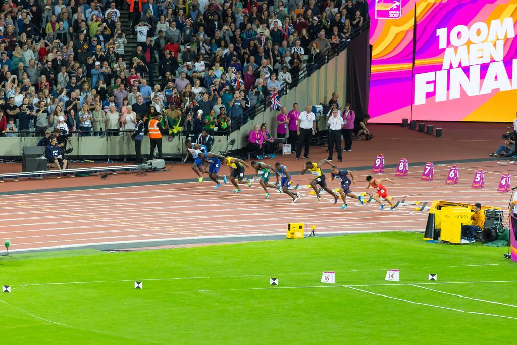 Start des 100m Vorlaufs mit Usain Bolt