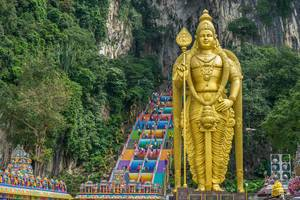 Statue and Colorful Stairs at Batu Caves in Kuala Lumpur