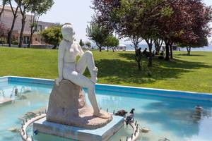 Statue of a naked woman in Memorial Park in Thessaloniki