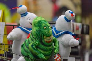 Stay Puft Marshmallow Man and Slimer plush toys