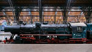 Steam locomotive of German Reich Railway at Leipzig station