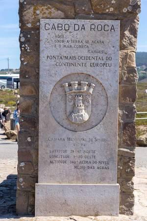 Steinerne Hinweistafel am Cabo da Roca