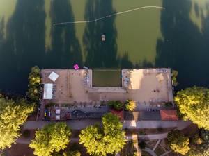 Strandbad Weißensee aus der Luft fotografiert