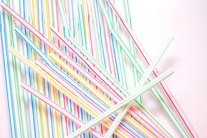 Straw Close-up on a White Background