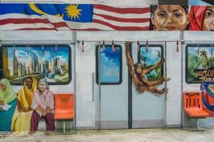 Street Art at Masjid Jamek Train Station in Kuala Lumpur