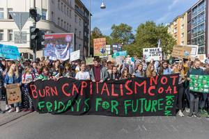Student movements and Friday for future activists lead the climate strike march in Cologne, Germany