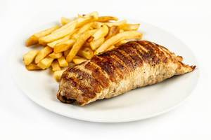 Stuffed pork Meat with French Fries