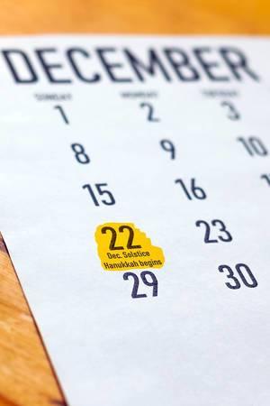 Sunday, December 22 highlighted on the calendar - Hanukkah beginning day