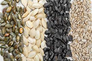 Sunflower and pumpkin seeds-peeled kernels and whole with shells
