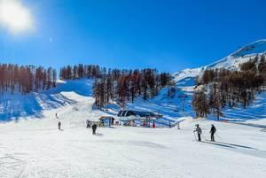 Sunny day at ski resort